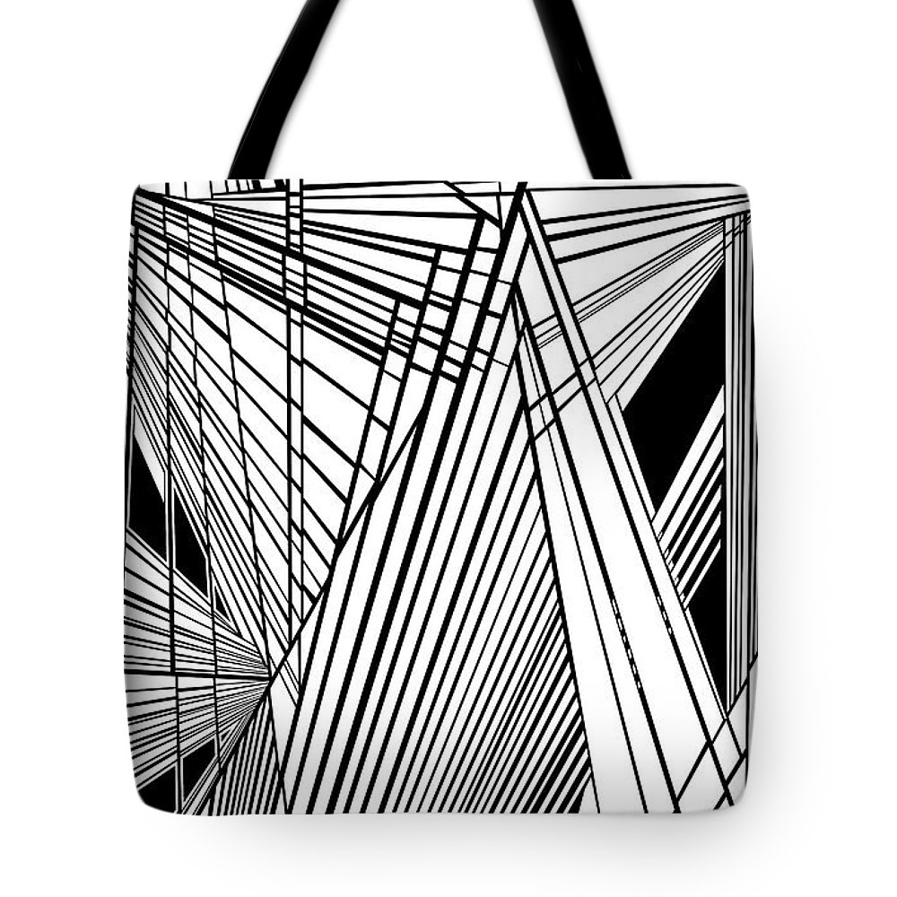Dynamic Black And White Tote Bag featuring the painting Compassion West Two by Douglas Christian Larsen