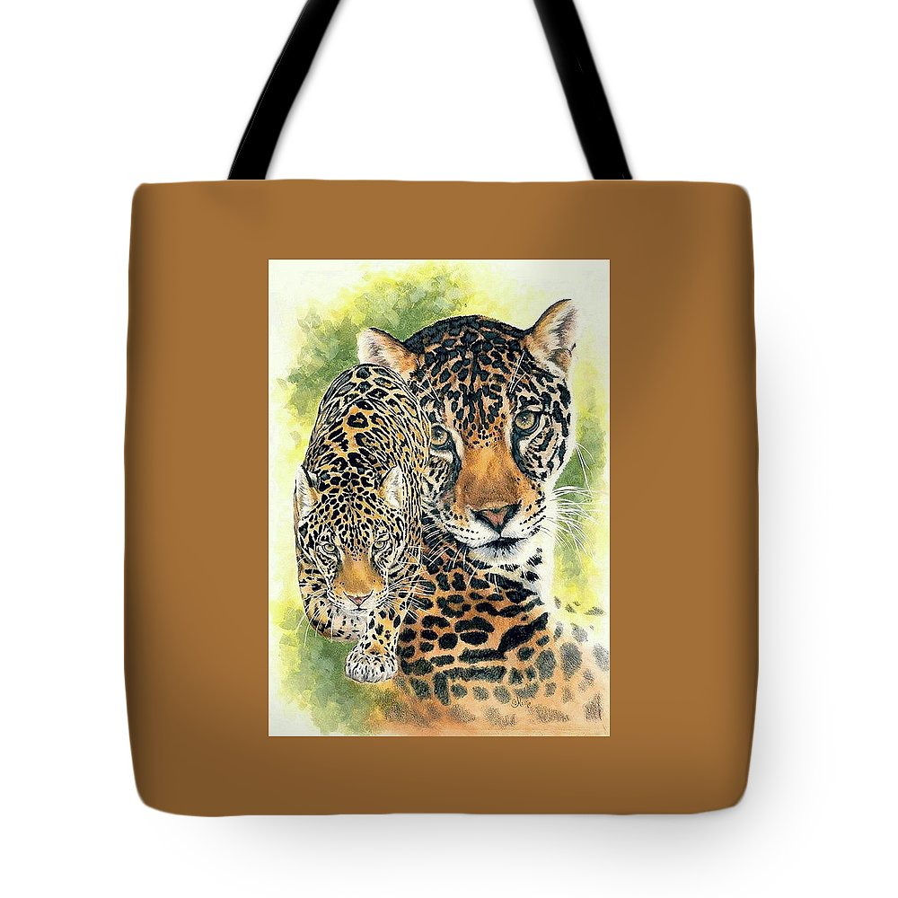 Jaguar Tote Bag featuring the mixed media Compelling by Barbara Keith