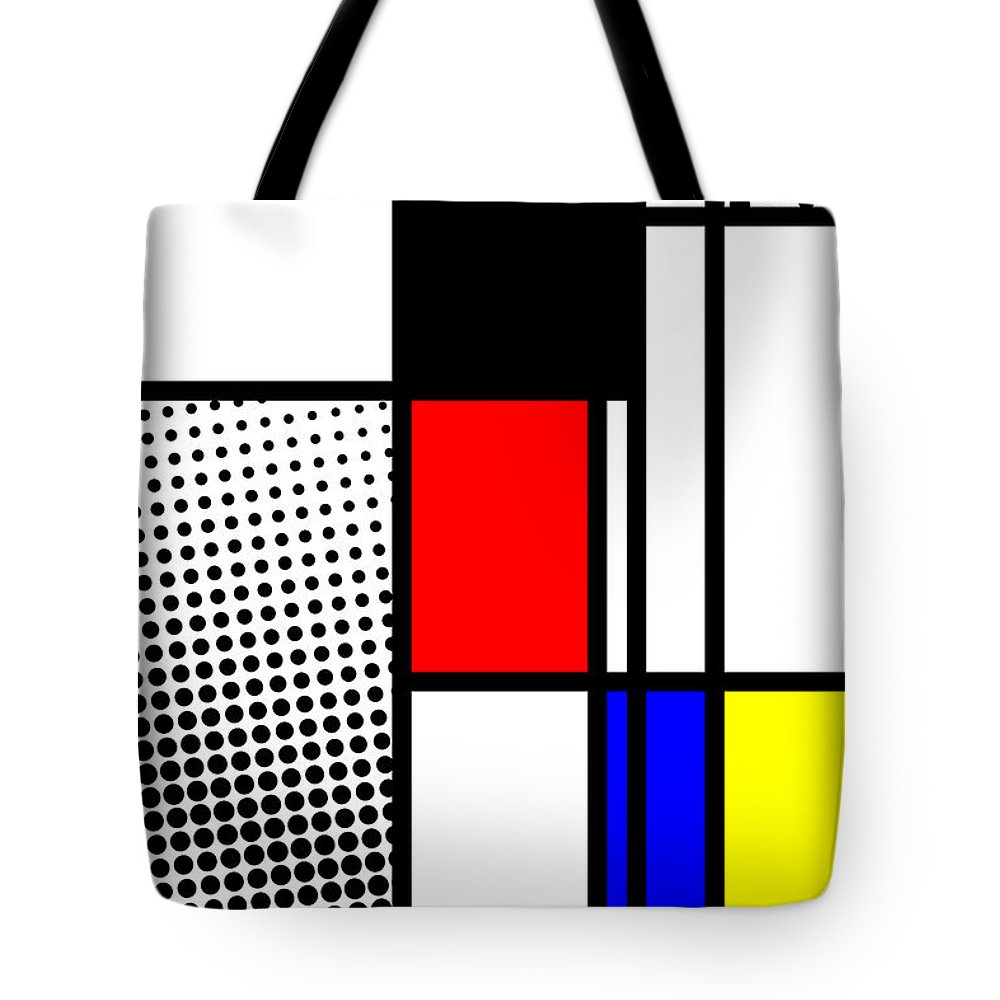 Mondrian Tote Bag featuring the mixed media Composition 100 by Dominic Piperata
