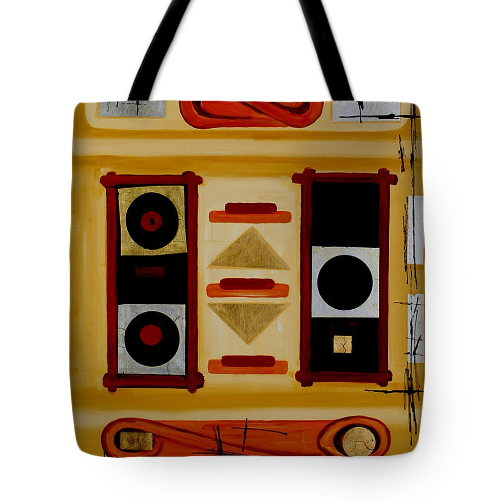 Abstract Tote Bag featuring the painting Composition - 6 - by Miroslav Stojkovic - Miro