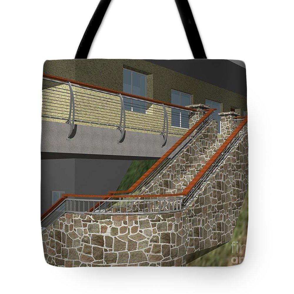 Tote Bag featuring the digital art Concept Railing by Peter Piatt