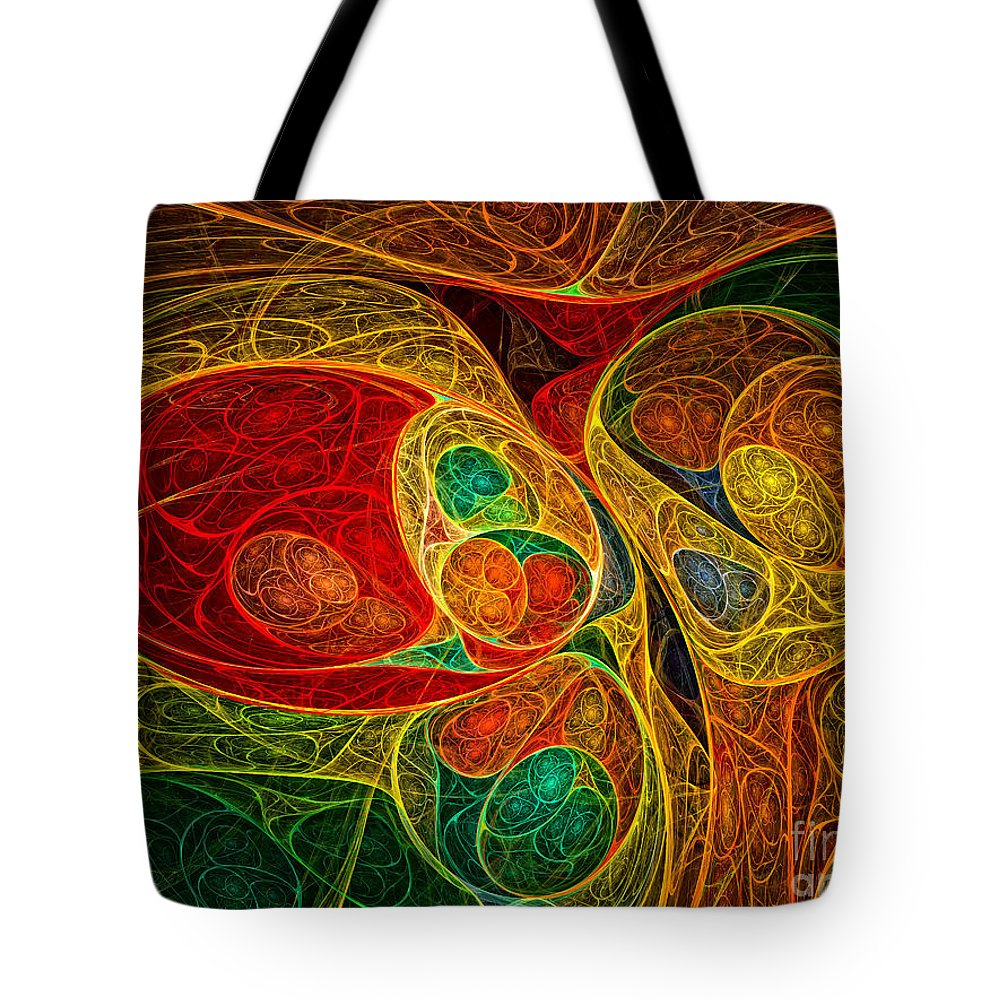 Abstract Tote Bag featuring the digital art Conception Abstract by Olga Hamilton