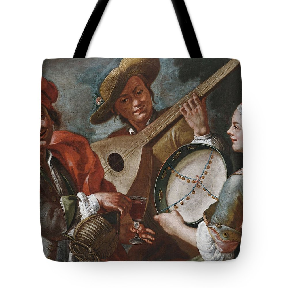 Giuseppe Bonito Tote Bag featuring the painting Concertino by Giuseppe Bonito