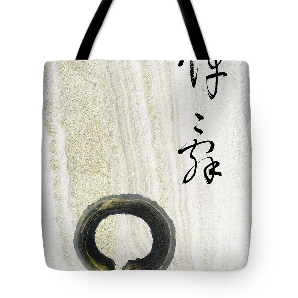 Zen Circle Tote Bag featuring the mixed media Condolences Tooji With Enso Zencircle by Peter v Quenter