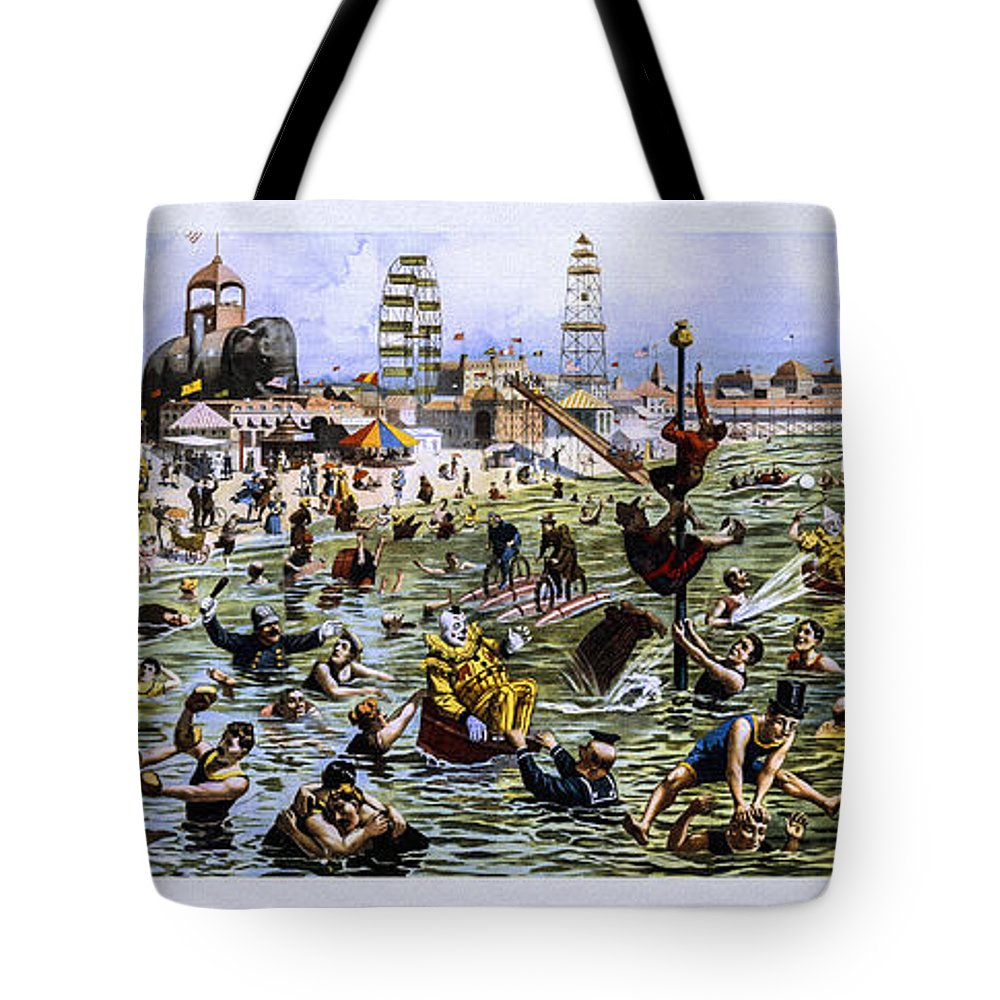 Strobridge Tote Bag featuring the photograph Coney Island Beach And Boardwalk by Diana Powell