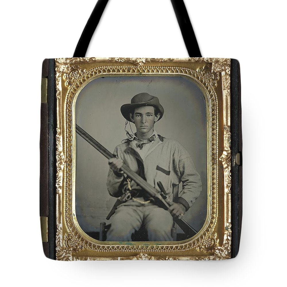 Confederate Tote Bag featuring the photograph Confederate Soldier With Shotgun by History Cases