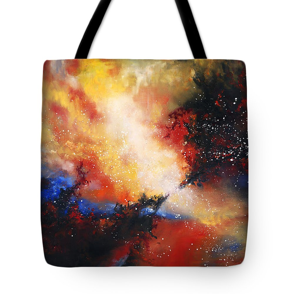 Oil Tote Bag featuring the painting Confluence by Christopher Lyter