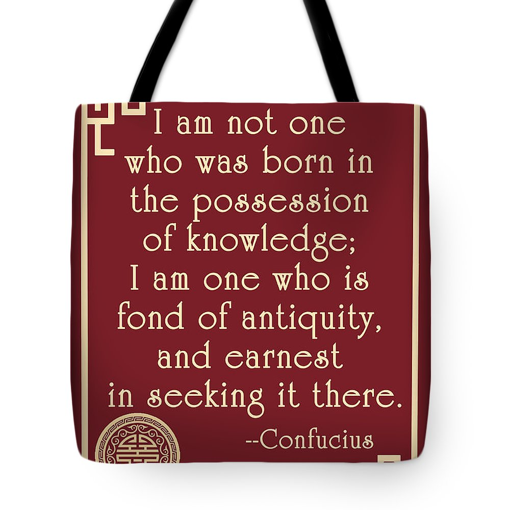 Confucius Tote Bag featuring the digital art Confucius Fond Of Antiquity Quote by Scarebaby Design