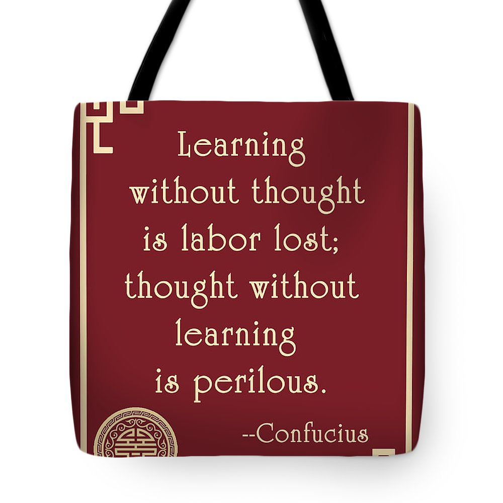 Confucius Tote Bag featuring the digital art Confucius On Critical Thinking by Scarebaby Design