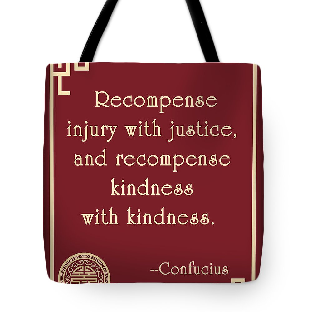 Confucius Tote Bag featuring the digital art Confucius On Kindness by Scarebaby Design