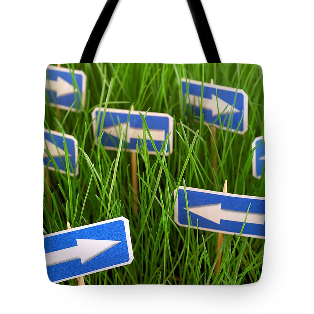 Sign Tote Bag featuring the photograph Confusion by Grigorios Moraitis