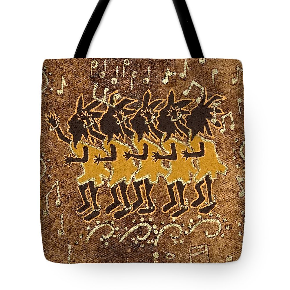 Kokopelli Tote Bag featuring the painting Conga Line by Katherine Young-Beck
