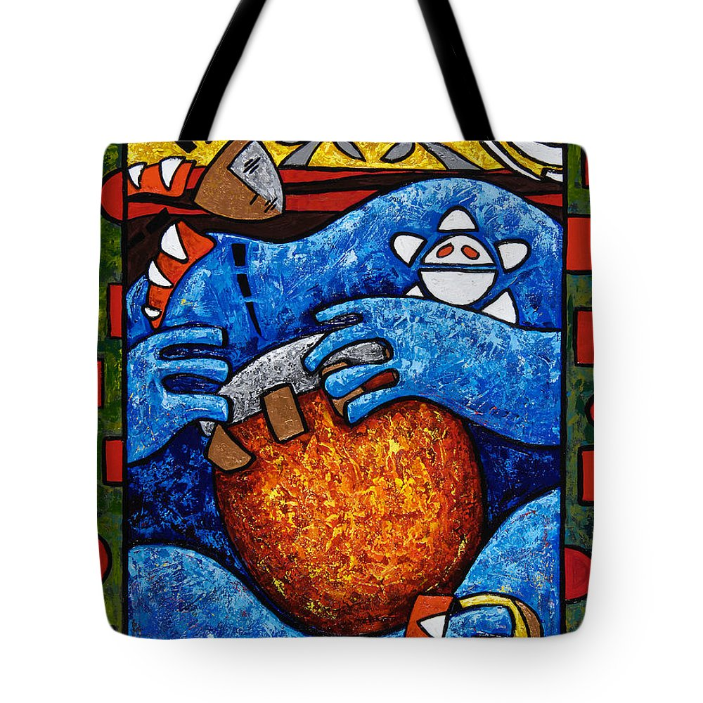 Puerto Rico Tote Bag featuring the painting Conga On Fire by Oscar Ortiz