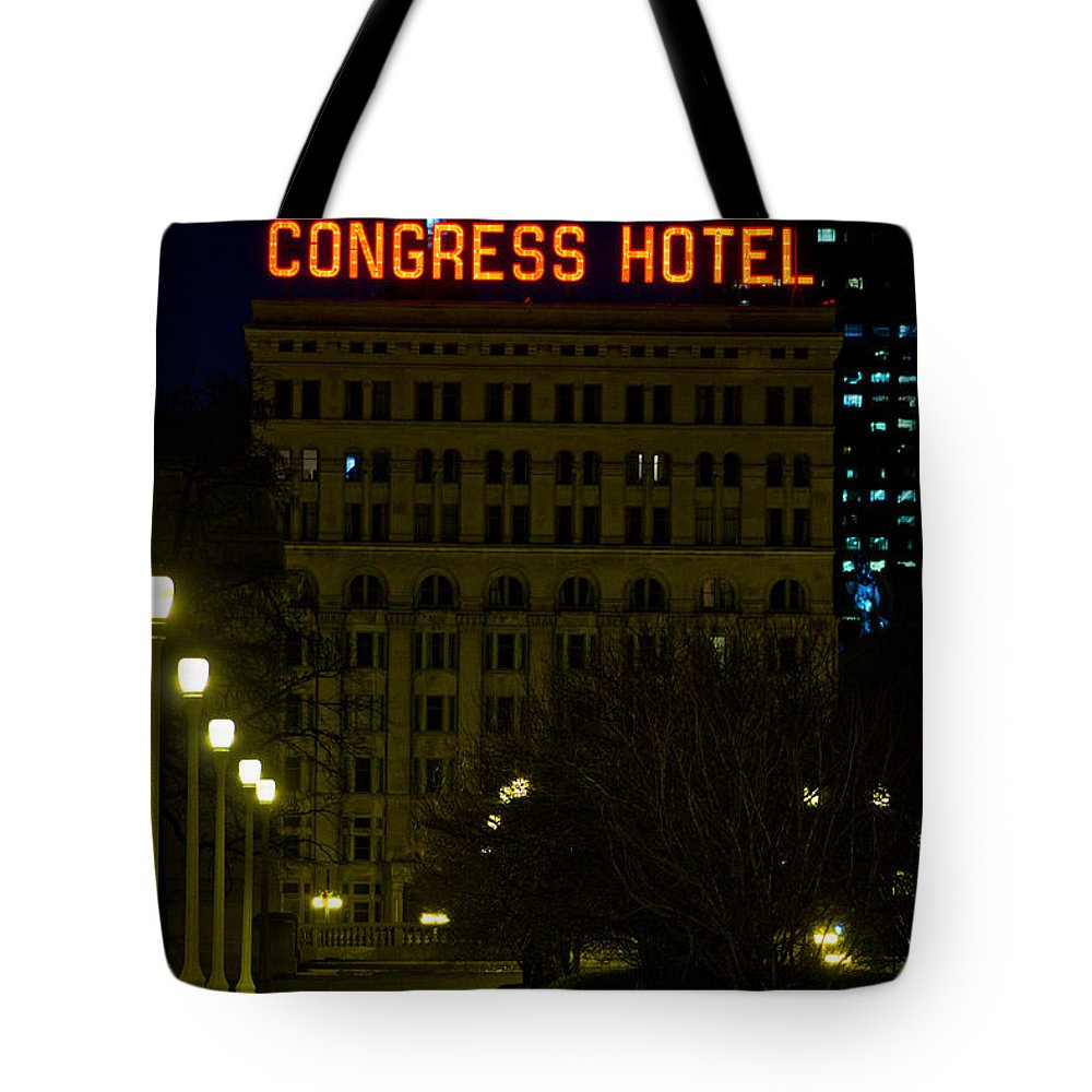 Chicago Tote Bag featuring the photograph Congress Hotel In Chicago by John McGraw