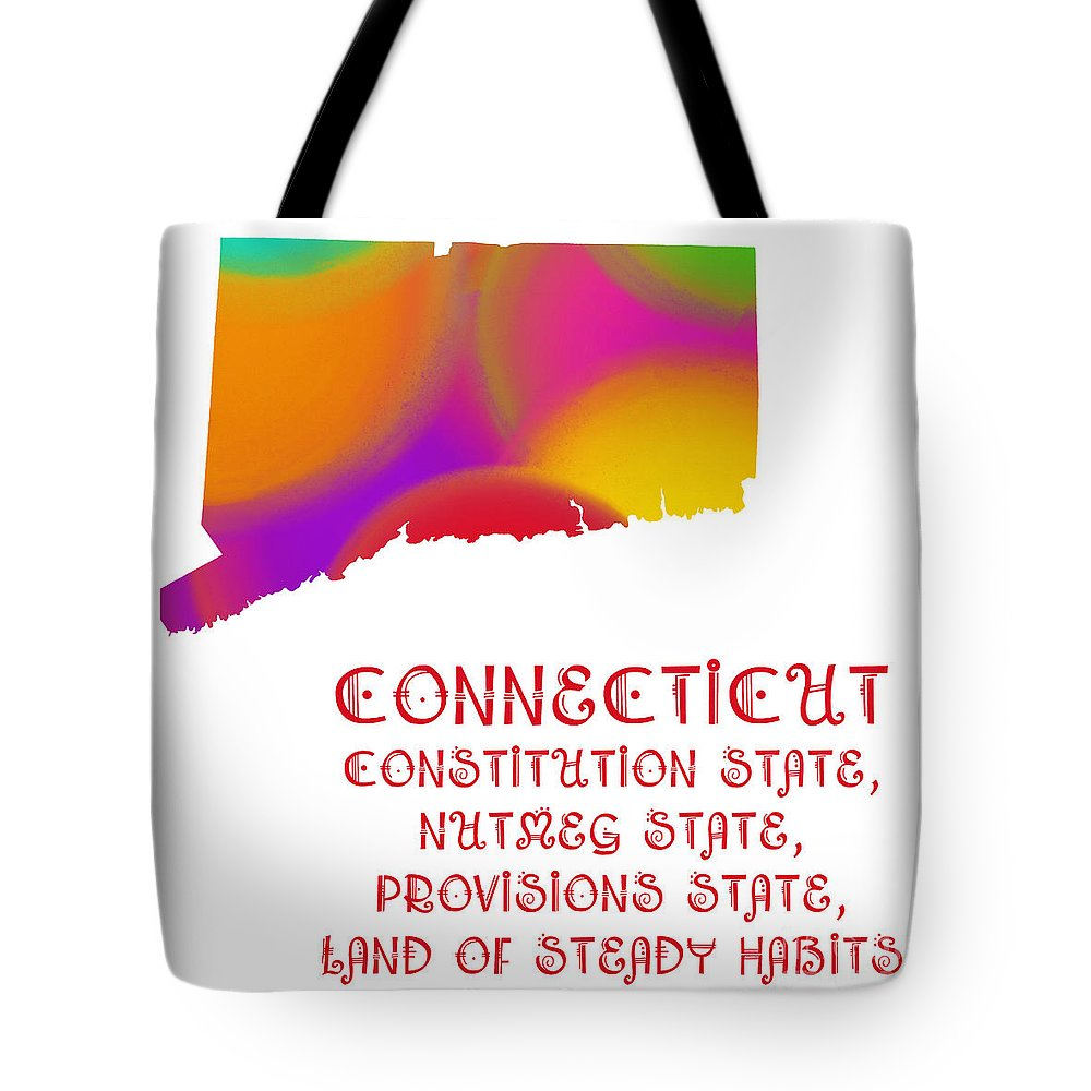 Andee Design Tote Bag featuring the digital art Connecticut State Map Collection 2 by Andee Design