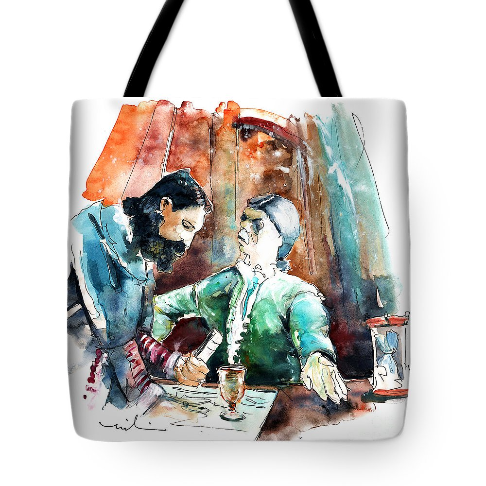 Portugal Tote Bag featuring the painting Conquistadores on The Boat in Vila do Conde in Portugal by Miki De Goodaboom