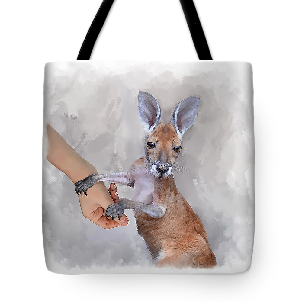 Kangaroo Tote Bag featuring the painting Constantine Version Two by Samantha Tro