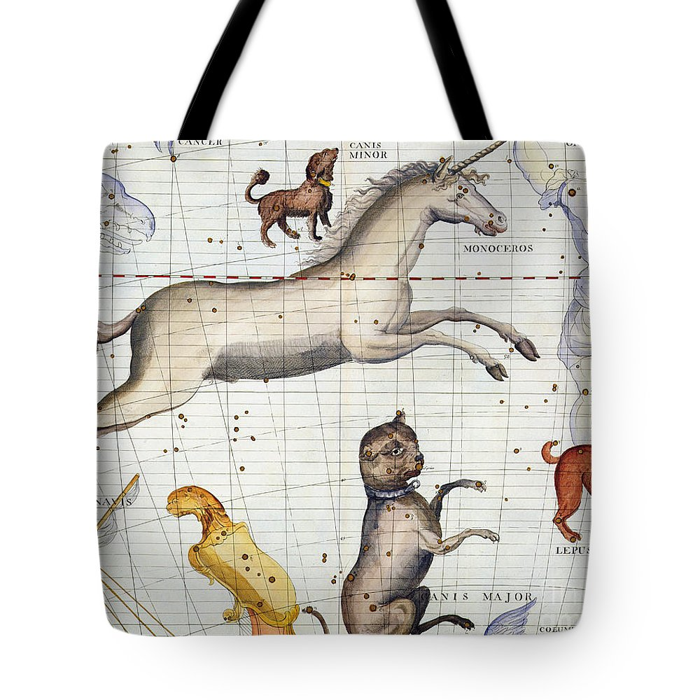 Map Tote Bag featuring the painting Constellation of Monoceros with Canis Major and Minor by Sir James Thornhill