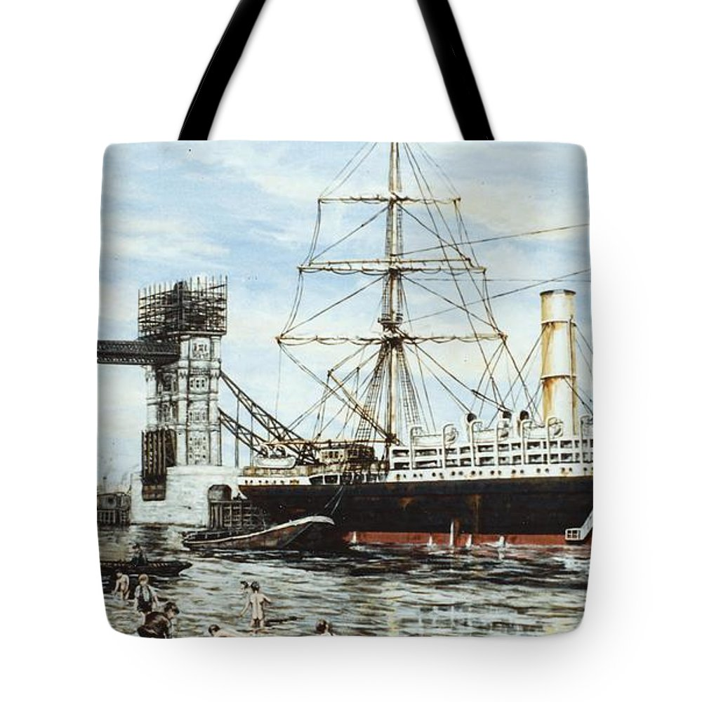 Bridge Tote Bag featuring the painting Construction Of Tower Bridge by Mackenzie Moulton