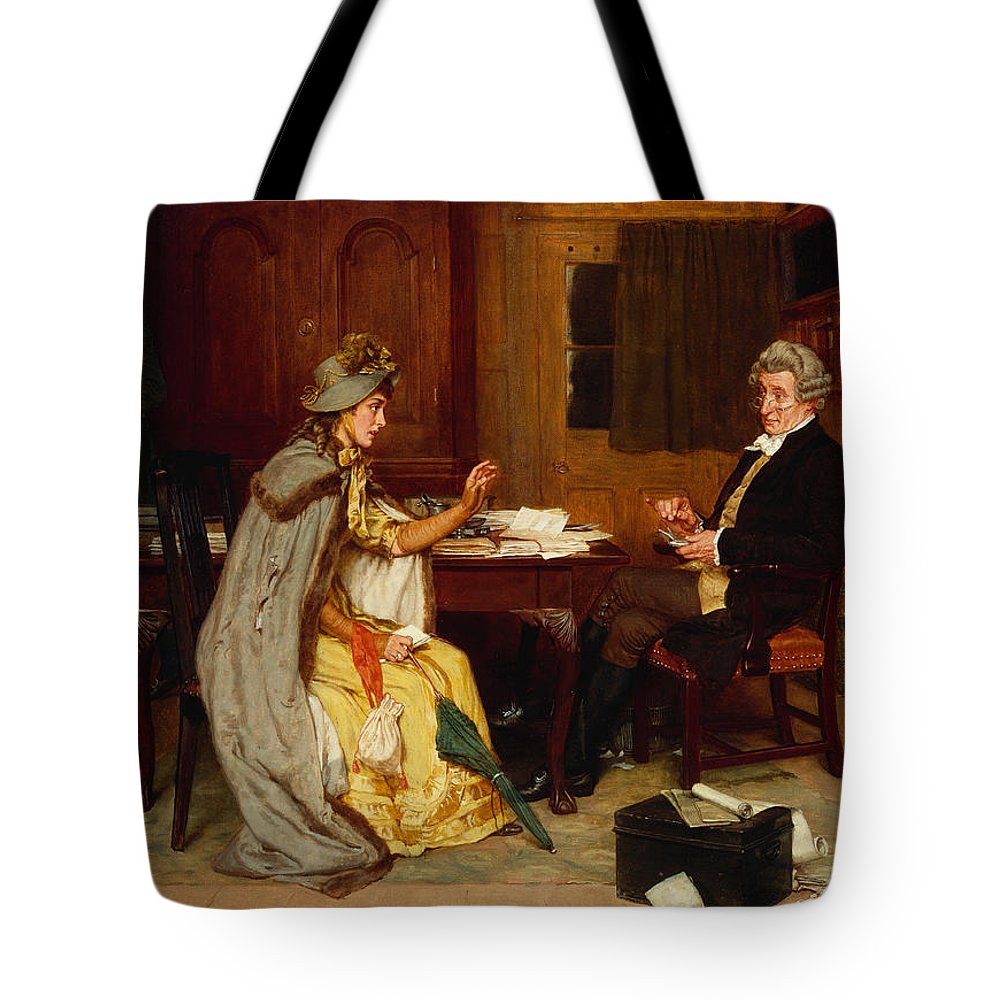 Female; Victorian; Interior; Office; Wig; Spectacles; Glasses; Seated; Male; Consultation Tote Bag featuring the painting Consulting Her Lawyer by Frank Dadd
