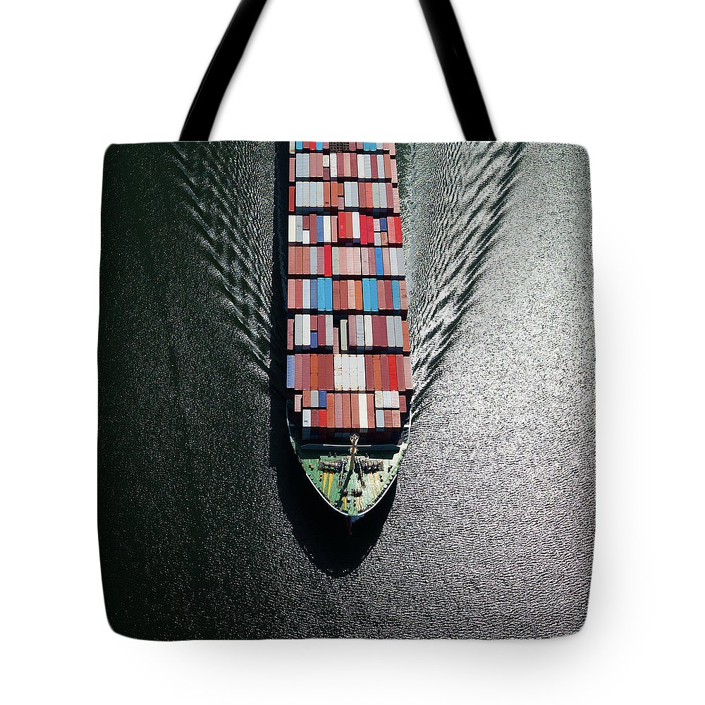 Freight Transportation Tote Bag featuring the photograph Container Ship Bow by Dan prat
