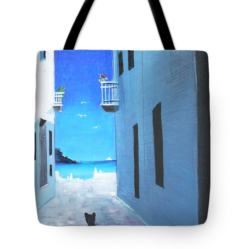Black Tote Bag featuring the painting Contemplating by - Artificium -