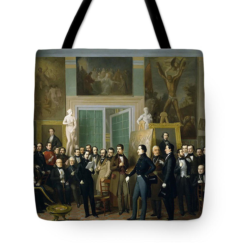 Antonio Maria Esquivel Tote Bag featuring the painting Contemporary Poets. A Reading By Zorilla In The Painters Studio by Antonio Maria Esquivel