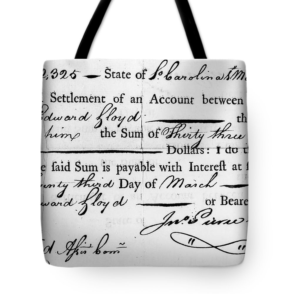 1783 Tote Bag featuring the photograph Continental Army: Pay by Granger