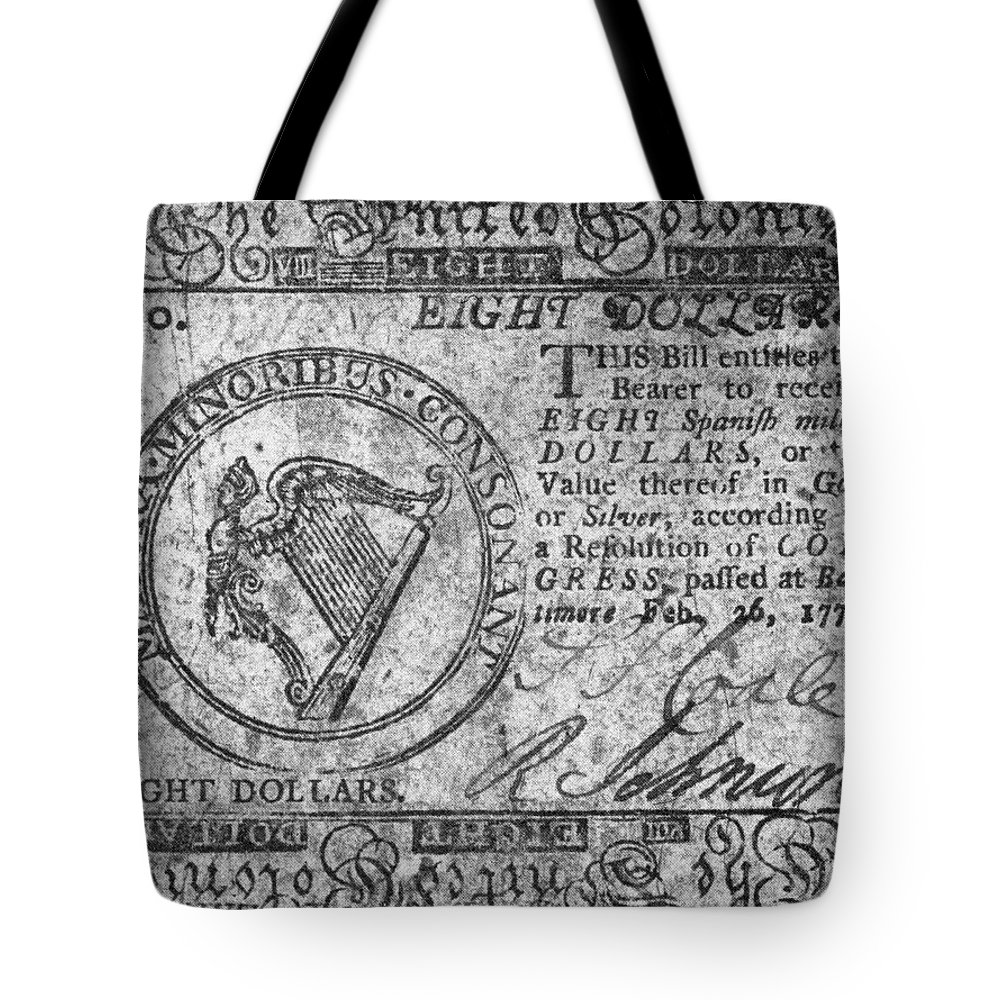 1777 Tote Bag featuring the photograph Continental Currency, 1777 by Granger