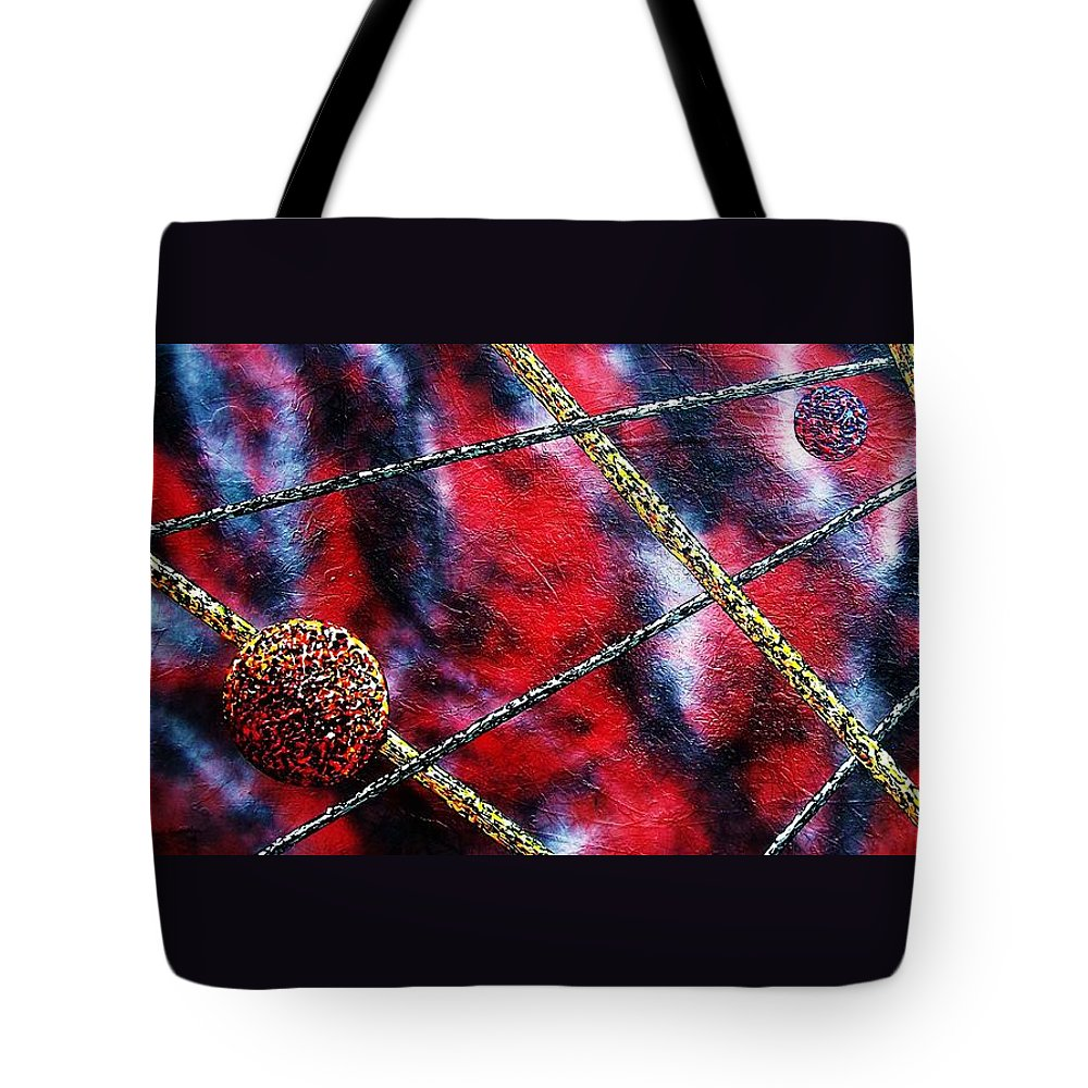Abstract Tote Bag featuring the painting Continuum Iv Red Sky by Micah Guenther