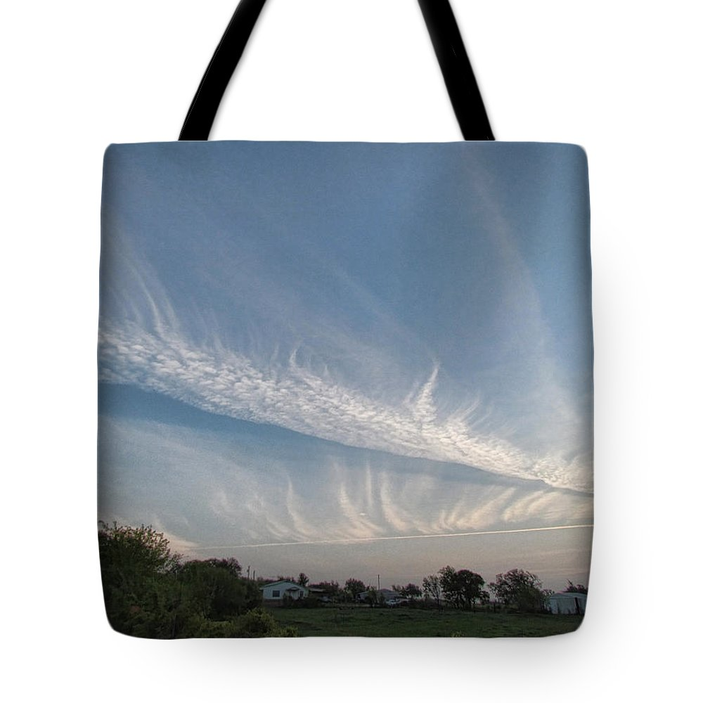 Tote Bag featuring the photograph Contrail Clouds by Shannon Story