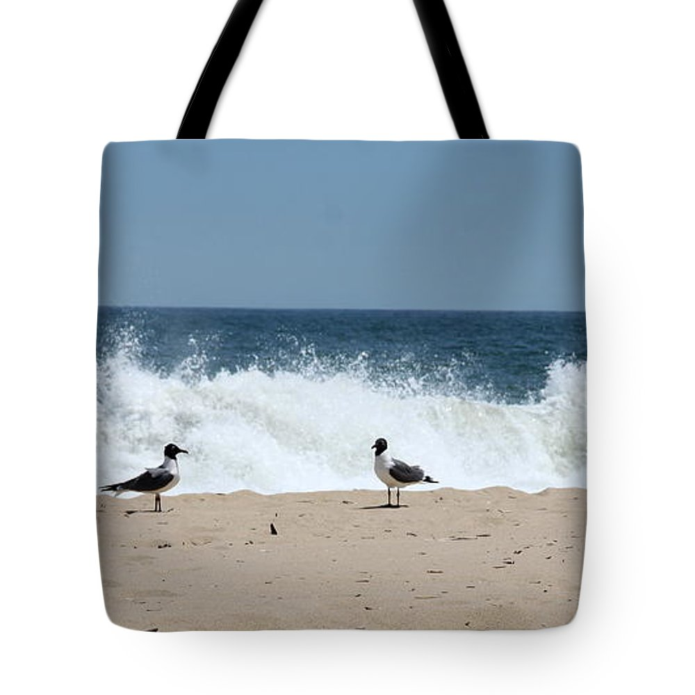 Gull Tote Bag featuring the photograph Conversation On The Beach by Christiane Schulze Art And Photography