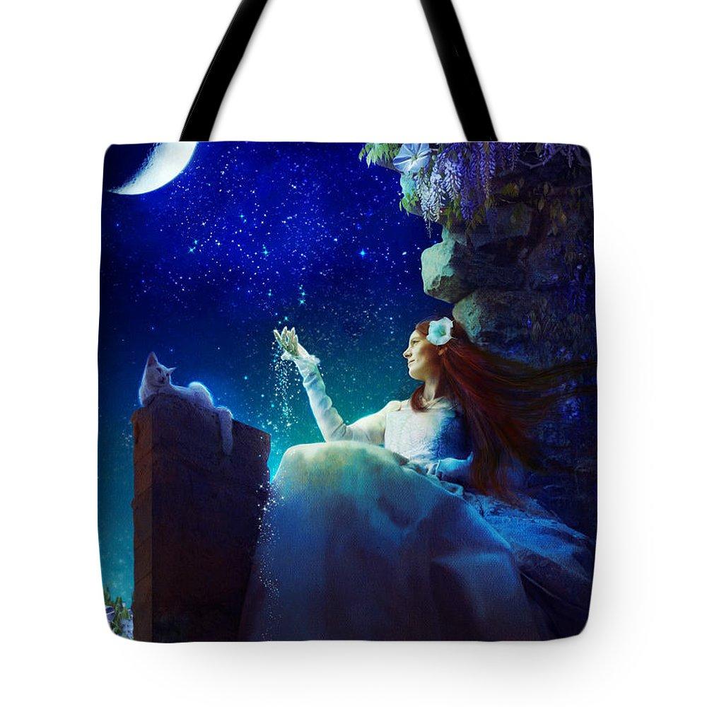 Aimee Stewart Tote Bag featuring the digital art Conversation With The Moon by Aimee Stewart