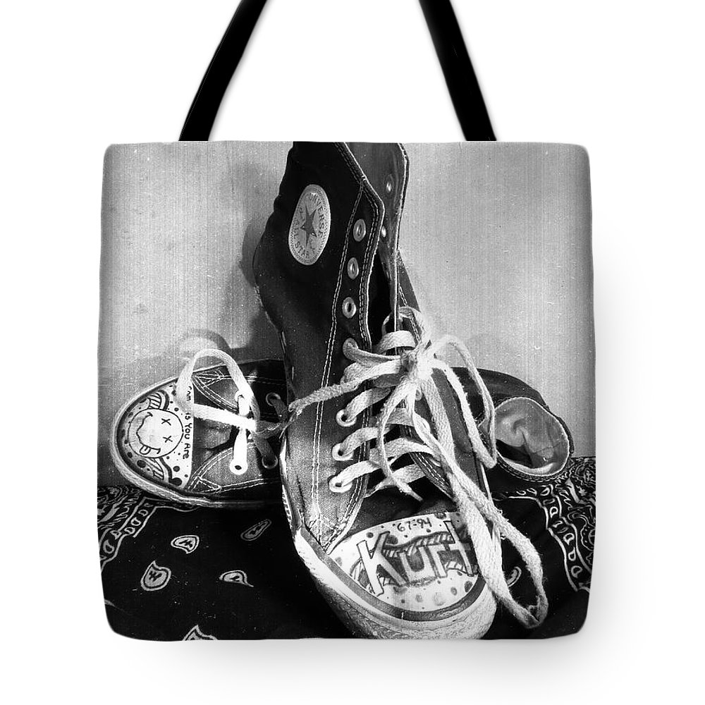 Converse Tote Bag featuring the photograph Converse Graffiti by Shawna Rowe bd1faaac73834