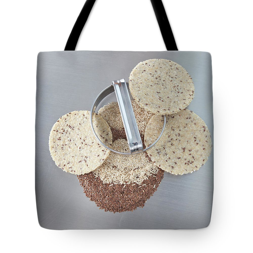 Flax Seed Tote Bag featuring the photograph Cookie Cutter With Dough Rounds by Laurie Castelli