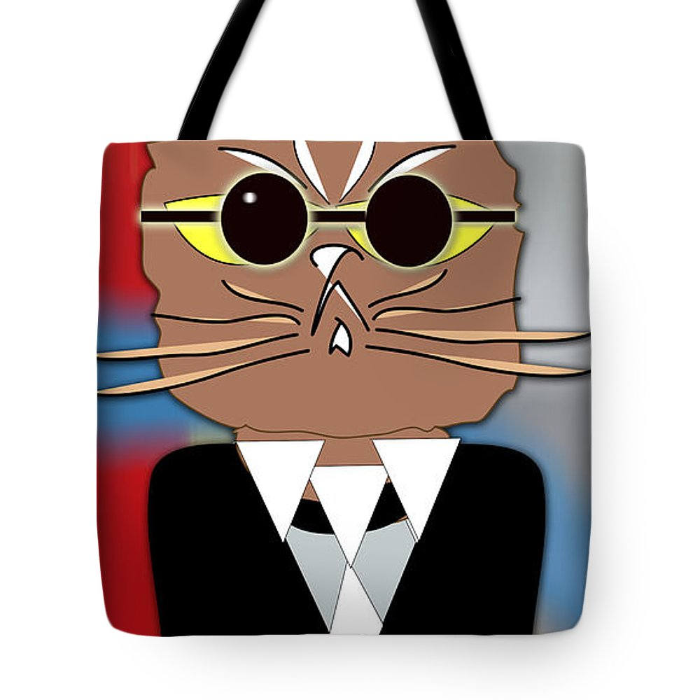 Kitten Paintings Tote Bag featuring the mixed media Cool Cat by Marvin Blaine