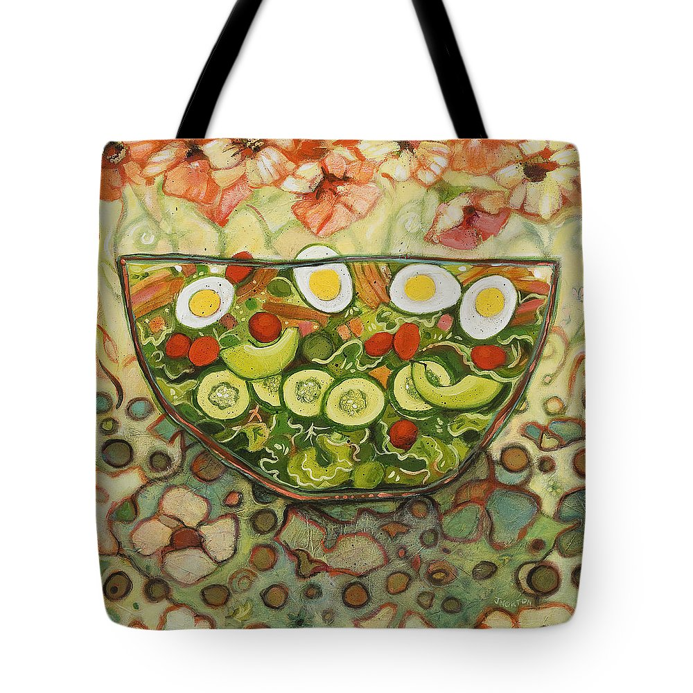 Jen Norton Tote Bag featuring the painting Cool Summer Salad by Jen Norton