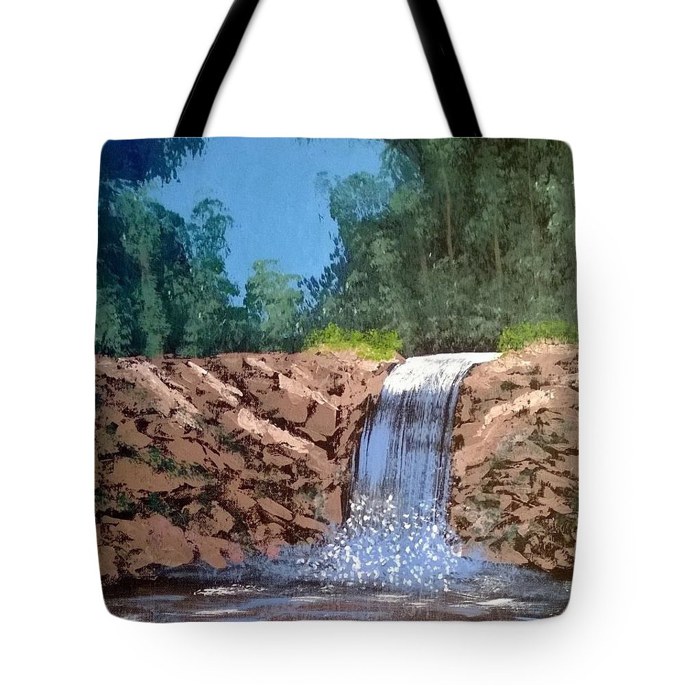 Cool Waterfall Tote Bag featuring the painting Cool Waterfall by Aat Kuijpers