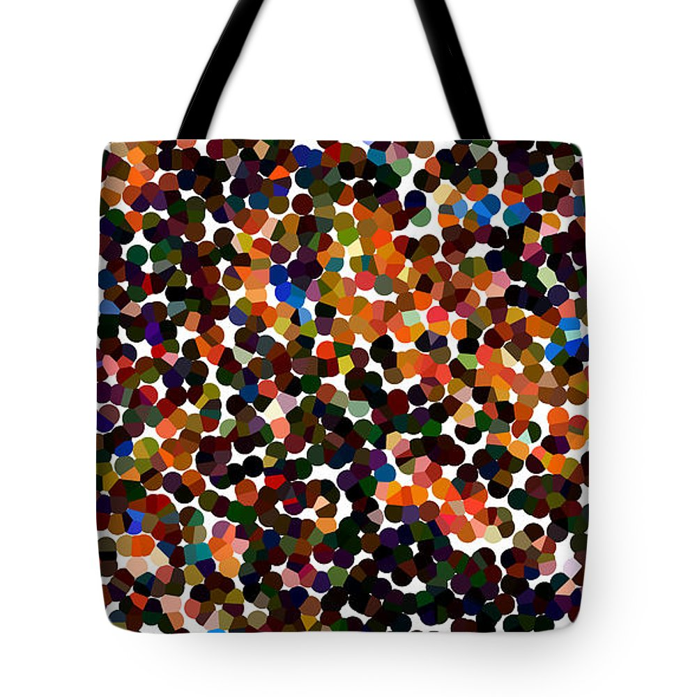 Abstract Tote Bag featuring the digital art Copper And Confetti Pixels by James Kramer