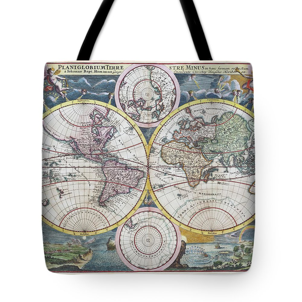Engraving Tote Bag featuring the digital art Copper Engraving From 1720 Showing The by Grafissimo