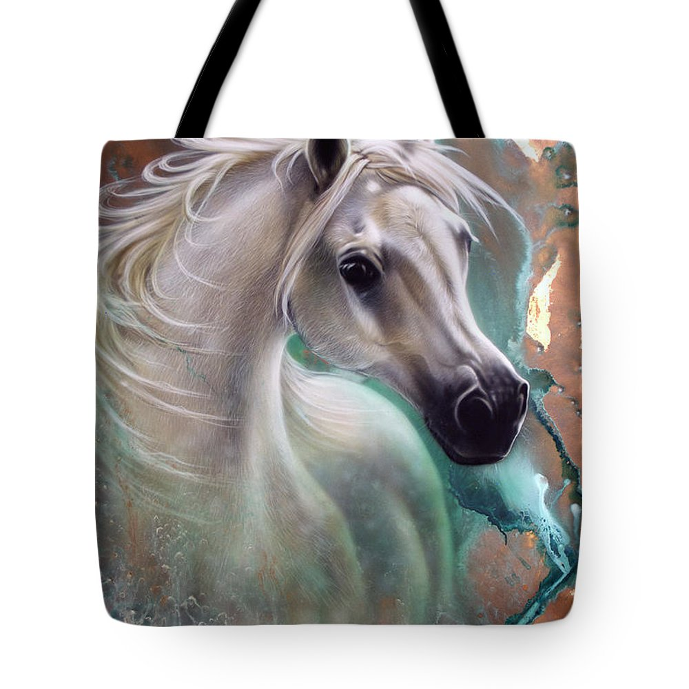 Copper Tote Bag featuring the painting Copper Grace - Horse by Sandi Baker