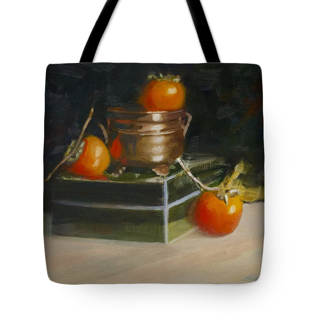 Still Life Tote Bag featuring the painting Copper Pot And Persimmons by Karen Fess