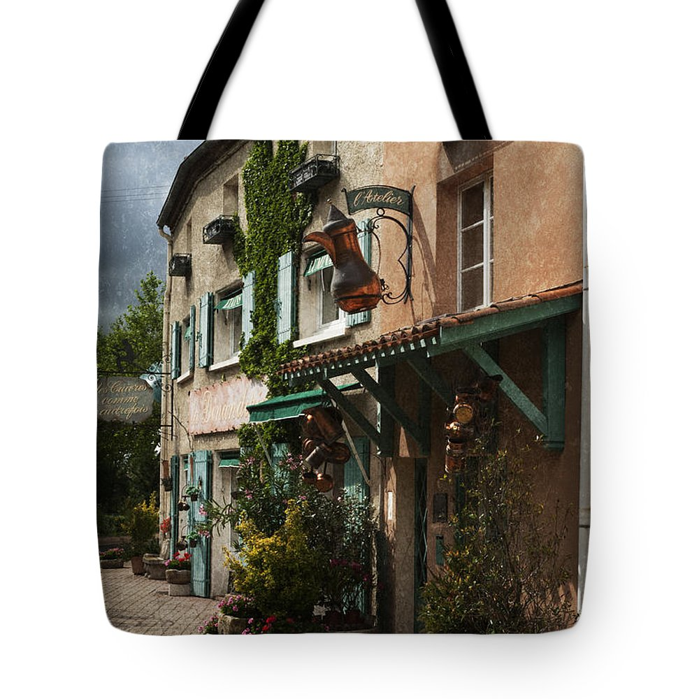 Copper Tote Bag featuring the photograph Copper Sales Store Durfort France by Greg Kluempers