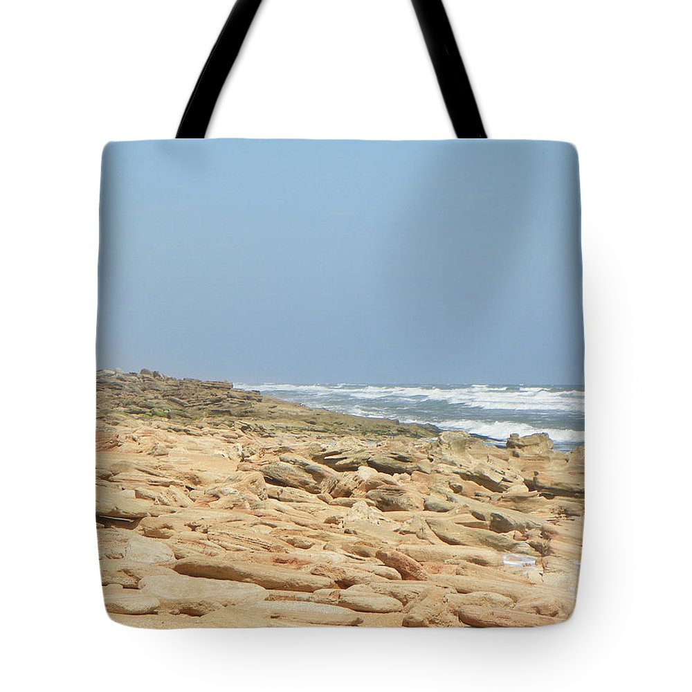 Beach Tote Bag featuring the photograph Coquina Rock On A Florida Beach by Patty Weeks