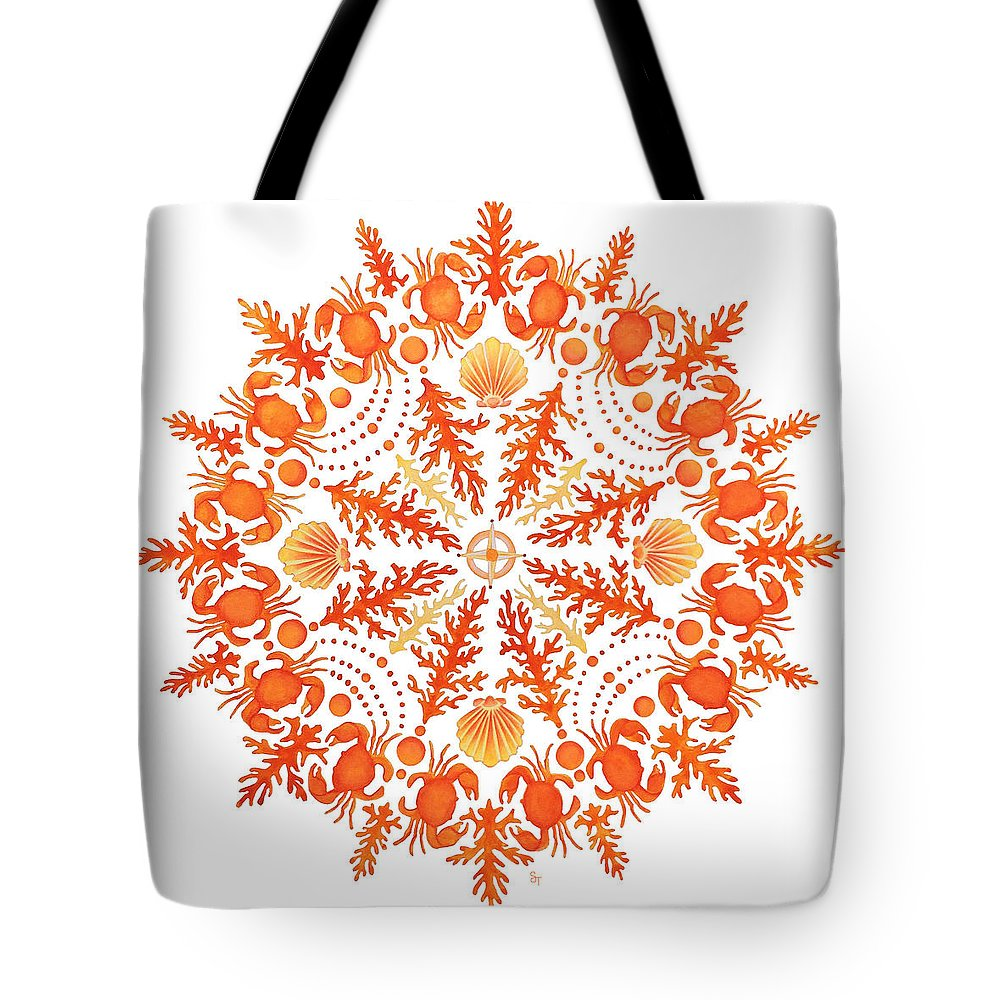 Coastal Art Tote Bag featuring the painting Coral Crab Mandala by Stephanie Troxell