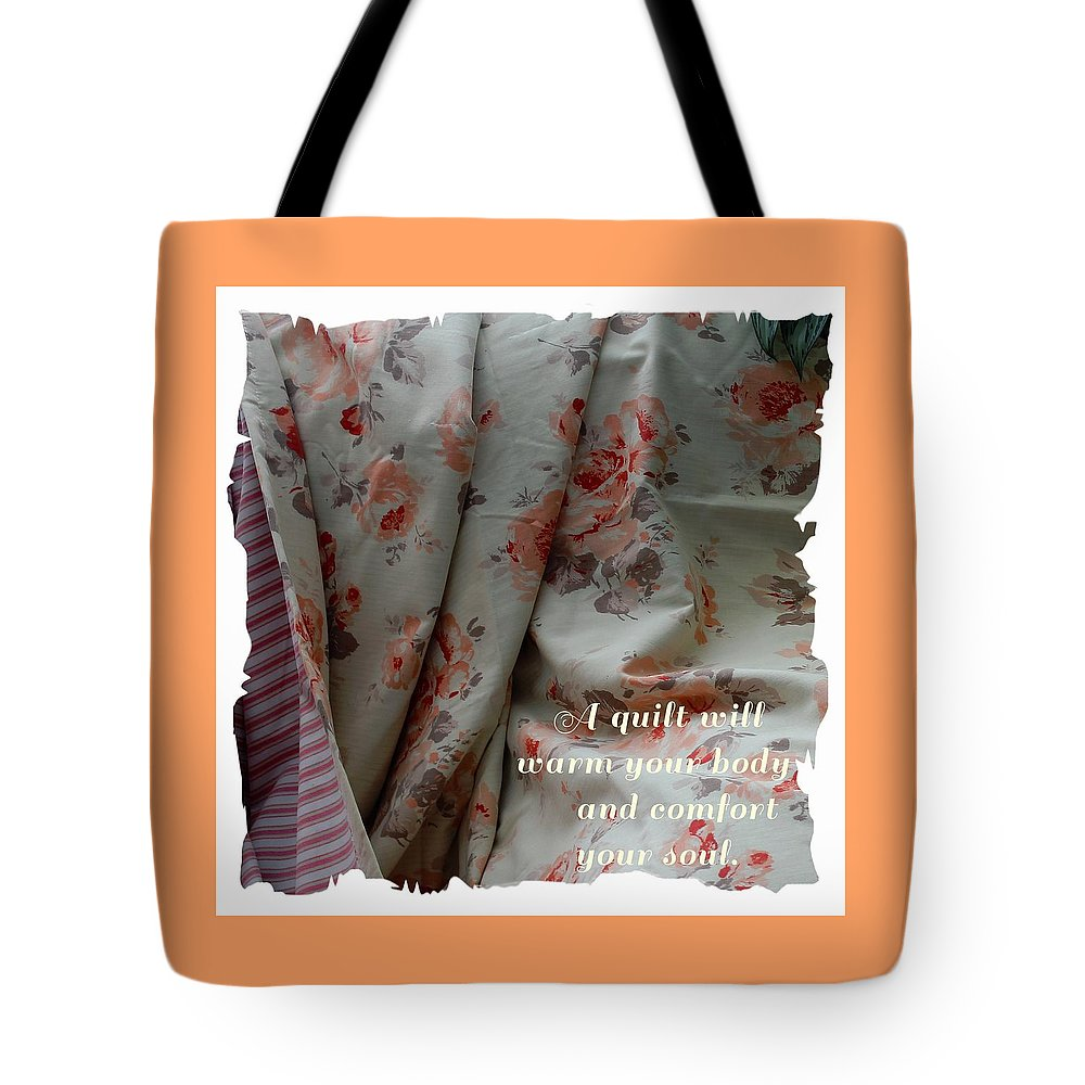 Coral Rose Quilt With Quote Tote Bag featuring the photograph Coral Rose Quilt With Quote by Barbara Griffin