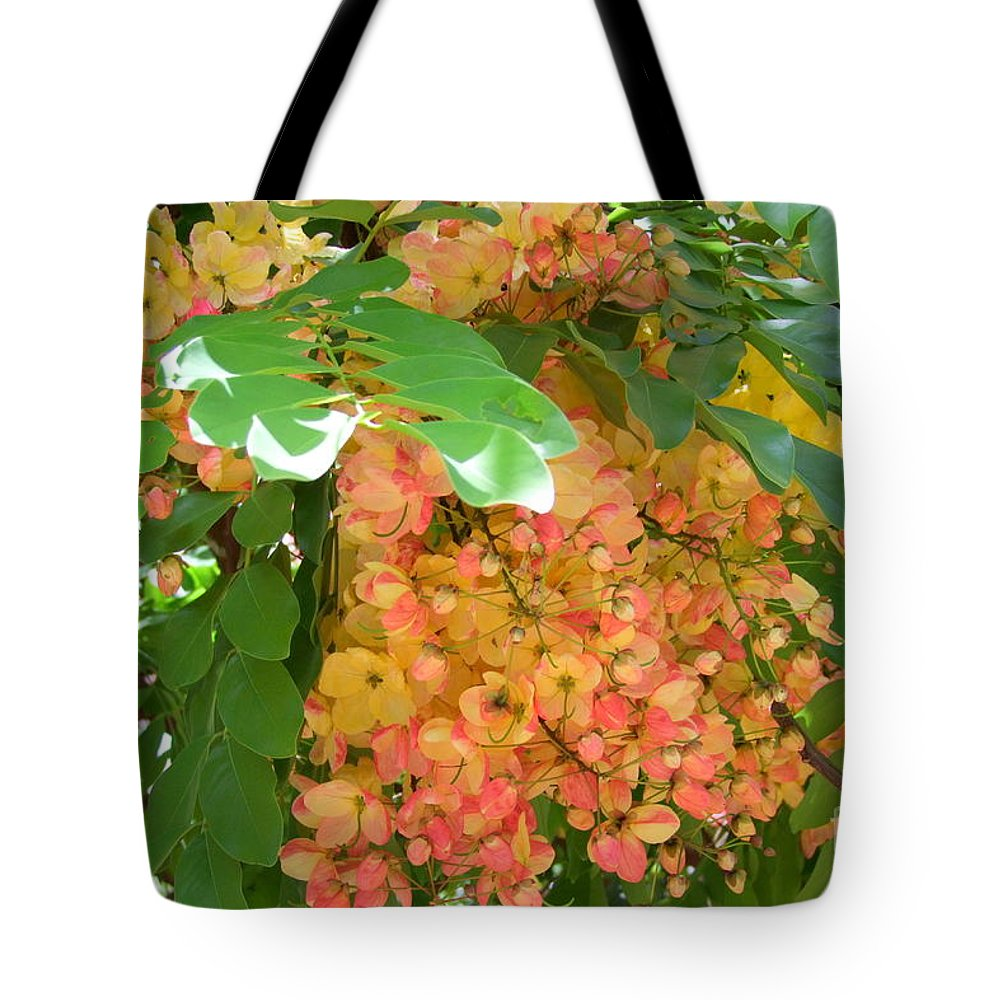 Shower Tree Tote Bag featuring the photograph Coral Shower Tree by Mary Deal