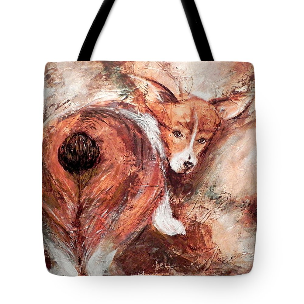 Tote bag personalized with hand painted pet portrait Dog butt
