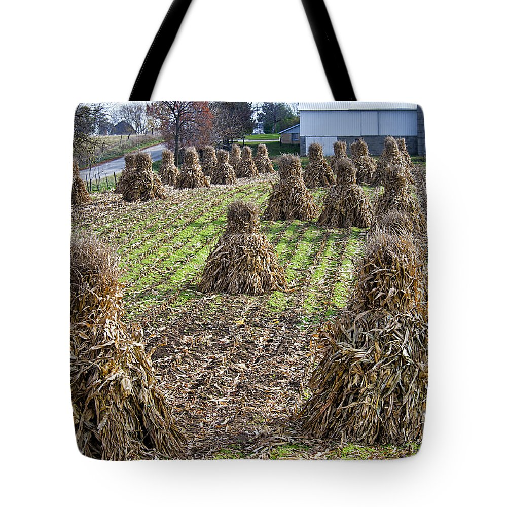 Amish Tote Bag featuring the photograph Corn Shocks Amish Field by David Arment