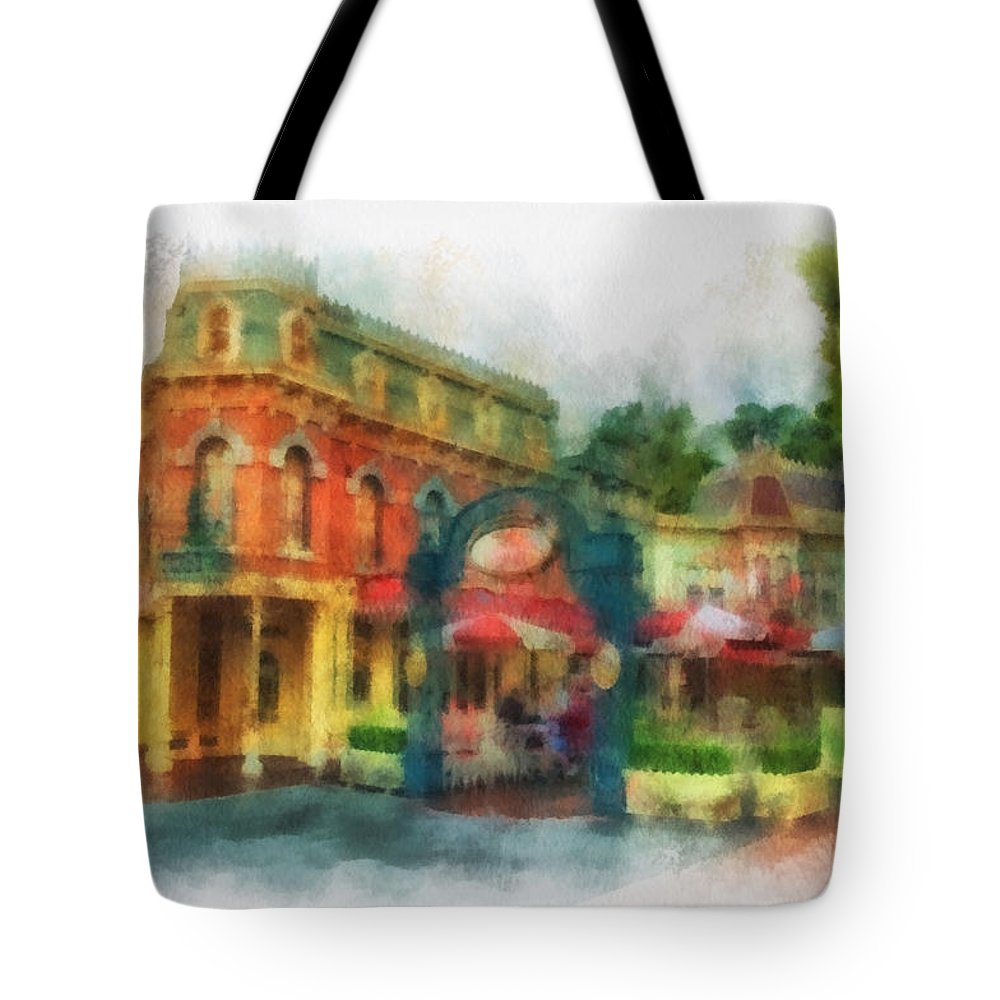 Disney Tote Bag featuring the photograph Corner Cafe Main Street Disneyland Photo Art 01 by Thomas Woolworth